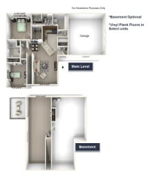 Geranium Townhome Floor Plan - 2 BR 2 BA at Killian Lakes Apartments and Townhomes, Columbia 29203