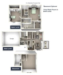 Trillium Townhome Floor Plan - 2 BR 2.5 BA at Killian Lakes Apartments and Townhomes, Columbia