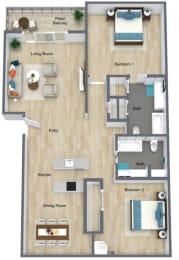 Floor Plan 2 Bed | 2 Bath A, opens a dialog