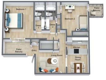 Floor Plan 2 Bed | 2 Bath B, opens a dialog