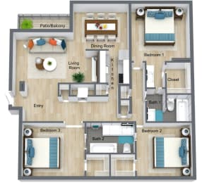 Floor Plan 3 Bed | 2 Bath, opens a dialog