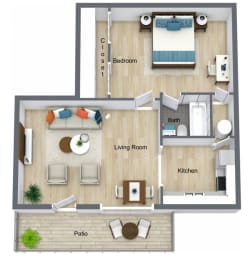 Floor Plan 1 Bed | 1 Bath