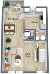 Floor Plan 2 Bed | 1.5 Bath Town Home