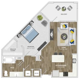 1 Bedroom (a3) Floor Plan at Monterosso Apartments, Kissimmee, Florida