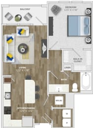 1 Bedroom (a4) Floor Plan at Monterosso Apartments, Kissimmee