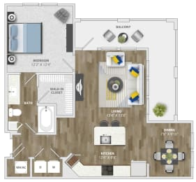 1 Bedroom (a5) Floor Plan at Monterosso Apartments, Florida