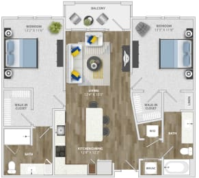 2 Bedroom (b2) Floor Plan at Monterosso Apartments, Florida, 34741