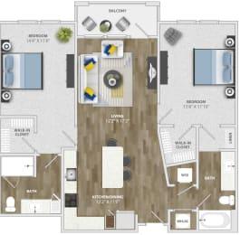 2 Bedroom (b3) Floor Plan at Monterosso Apartments, Kissimmee, FL, 34741