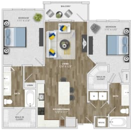 2 Bedroom (b4) Floor Plan at Monterosso Apartments, Kissimmee, FL
