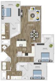 3 Bedroom (c3) Floor Plan at Monterosso Apartments, Kissimmee