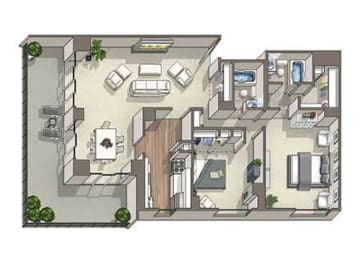 2 Bed 2 Bath Avon Floor Plan at The Summit, Alexandria, Virginia