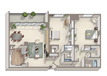 2 Bed 2 Bath Cambridge Floor Plan at The Summit, Alexandria, 22304
