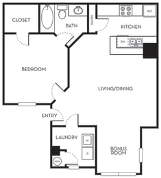 One Bedroom One Bath Floorplan The Terraces at Lake Mary Florida