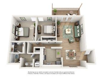 The Brookwood Apartment Homes - 2 Bedroom 1 Bath Apartment