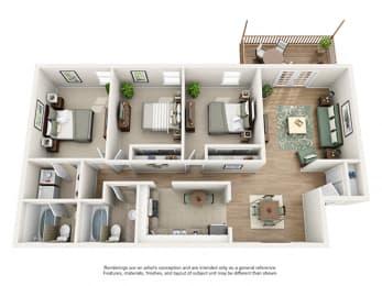 The Brookwood Apartment Homes - 3 Bedroom 2 Bath Apartment