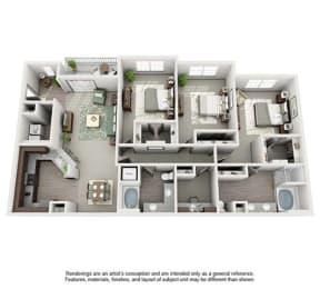 The Estates at Johns Creek Apartment Homes - 3 Bedroom 2 Bath Apartment
