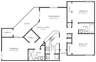 Chelsea | 3 Bedroom | 2 Bath | 1,221 Sq.Ft.