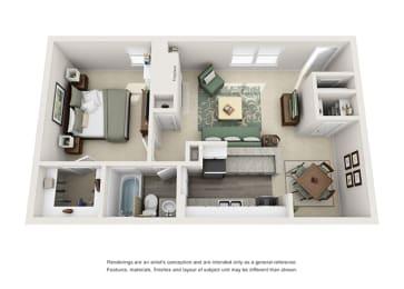 A2 | 1 Bedroom | 1 Bath | 682 sq. ft.