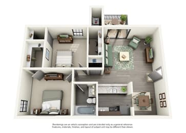 Calloway at Las Colinas Apartment Homes - 2 Bedroom 1 Bath Apartment