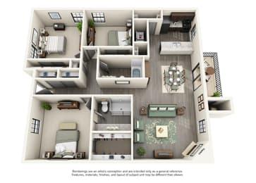 Calloway at Las Colinas Apartment Homes - 3 Bedroom 2 Bath Apartment