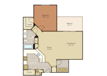 Violet 1 Bedroom 1 Bath - Courtney Meadows Apartments Jacksonville, Florida, opens a dialog