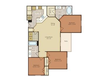 Dahlia 3 Bedroom 2 Bath - Courtney Meadows Apartments Jacksonville, Florida