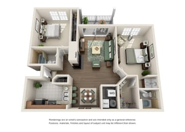 Dorchester Floor plan - 2 Bedroom 2 Bath - Green Trails Apartment Homes Lisle, IL, opens a dialog