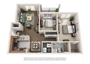 Hampton Floor plan - 2 Bedroom 1 Bath - Green Trails Apartment Homes Lisle, IL, opens a dialog