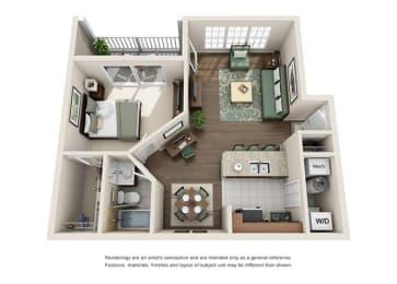 Saxony Floor plan - 1 Bedroom 1 Bath - Green Trails Apartment Homes Lisle, IL, opens a dialog