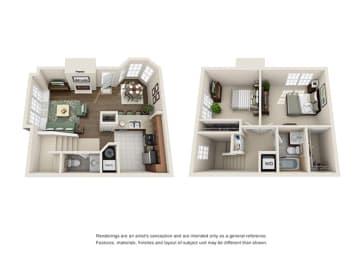 Tudor Floor plan - 2 Bedroom 1.5 Bath - Green Trails Apartment Homes Lisle, IL, opens a dialog
