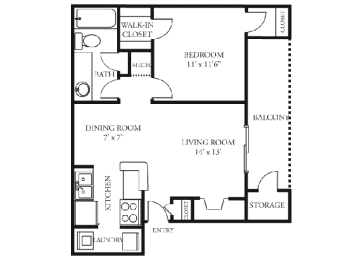Orchid Floor plan Martin's Point Apartment Homes, opens a dialog