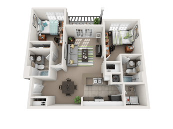 Floor Plan 2 Bedroom 2 Bathroom Deluxe