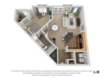 B11 1 Bed 1 Bath Floor Plan