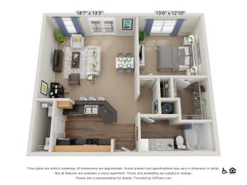 B9 1 Bed 1 Bath Floor Plan