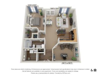 D2 1 Bed 1 Bath Floor Plan