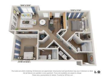 E2 2 Bed 2 Bath Floor Plan