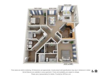 E4 2 Bed 2 Bath Floor Plan