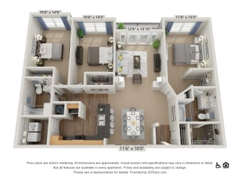 F3 3 Bed 2 Bath Floor Plan