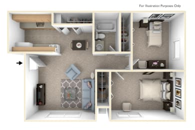 2 Bedroom 1 Bath Floor Plan at West Wind Apartments, Fort Wayne, IN, 46808