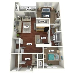 Floor Plan 2 Bed | 1 Bath, opens a dialog