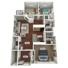 Floor Plan 3 Bed | 2 Bath A, opens a dialog