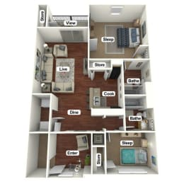 Floor Plan 2 Bed | 2 Bath B, opens a dialog