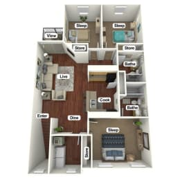 Floor Plan 3 Bed | 2 Bath C, opens a dialog