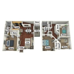 Floor Plan 4 Bed | 2 Bath, opens a dialog