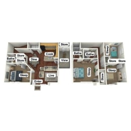 Floor Plan 4 Bed | 2.5 Bath, opens a dialog