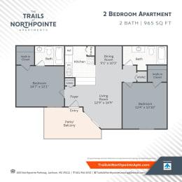 Floor Plan 2 Bedroom/2 Bath - 965