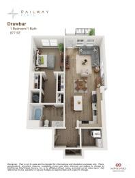 Drawbar Floor Plan - 1 Bed/1 Bath