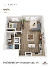 Meridian Floor Plan - 1 Bed/1 Bath