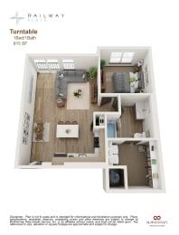 Turntable Floor Plan - 1 Bed/1 Bath