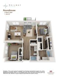 Roundhouse Floor Plan - 2 Bed/2 Bath